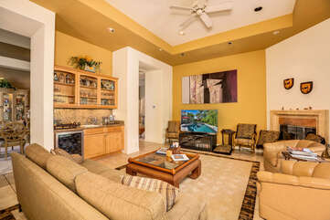 Wet Bar and Flat Screen TV in Family Room