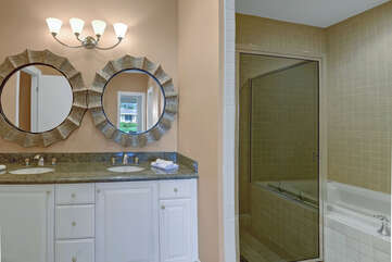 Master Bathroom with Jacuzzi Tub and Walk-In Shower