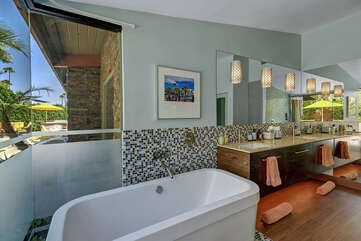 Master Bathroom with Outdoor Views from Soaking Tub