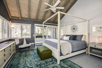 Upstairs Master Suite with King Bed and Private Balcony