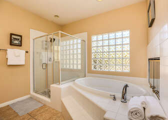 Luxurious Soaking Tub and Walk in Shower