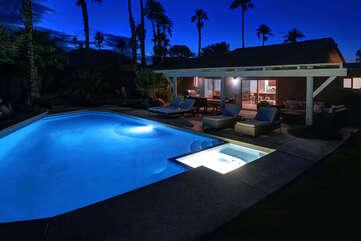 Pool and Spa at Night