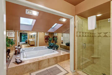 Great Soaking Tub and Walk In Shower