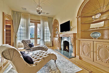 Master Suite Sitting Room with Cozy Fireplace
