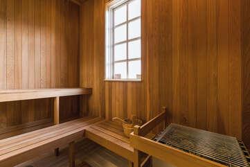 Main House Indoor Sauna in Master Bathroom