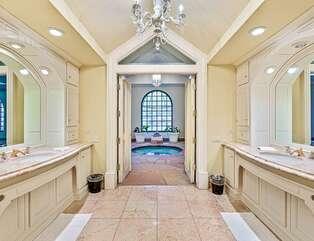 Master En Suite Bathroom Looking to Indoor Spa and Pool