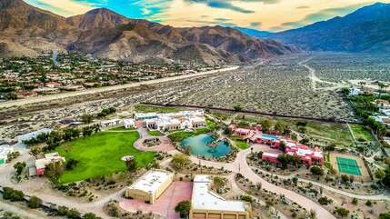 Drone View of the 12 Acre Palm Springs Pond Estate
