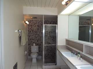 Dual Sink Vanity and Walk In Shower