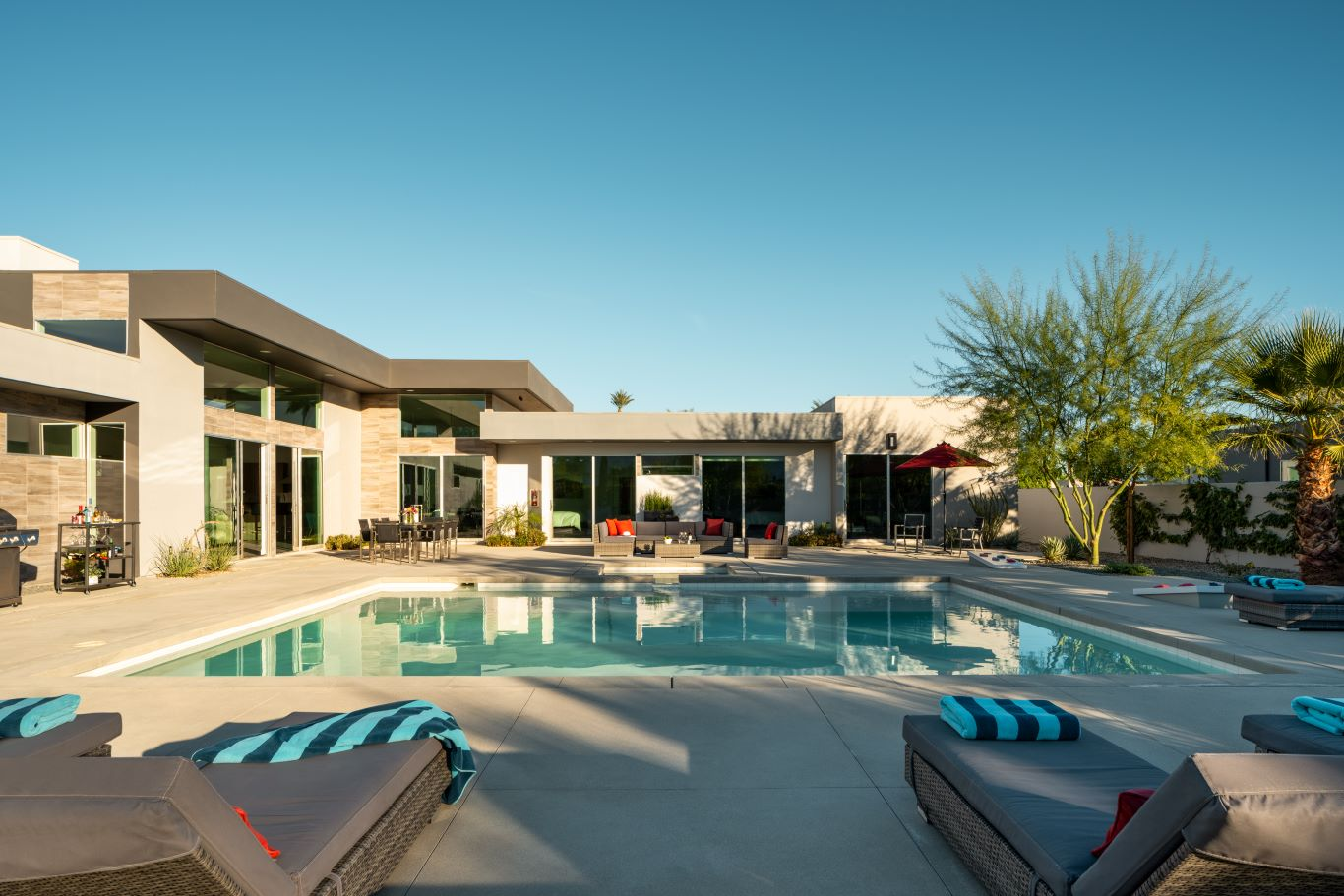 View over Pool to Back of House