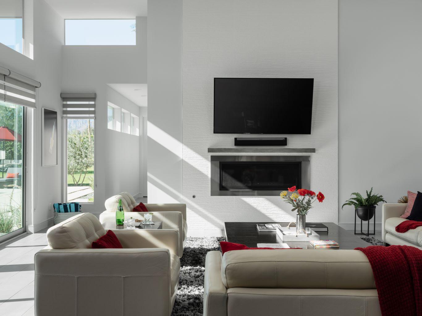 Large Screen TV & Fireplace