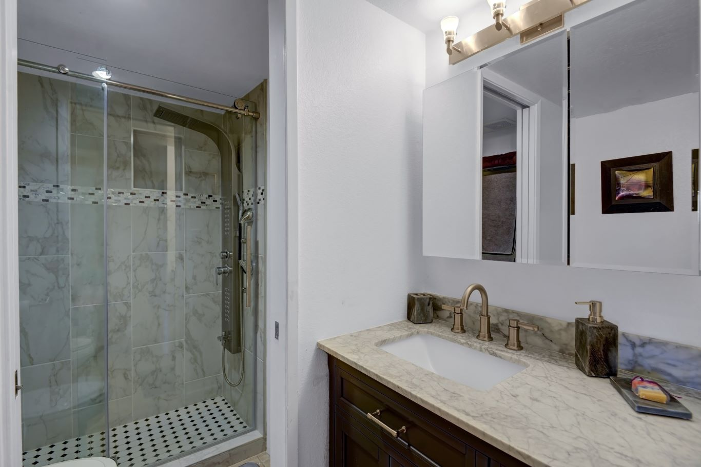 En Suite Master Bathroom Newly Tiled Walk-In Shower with Rainfall Shower Head