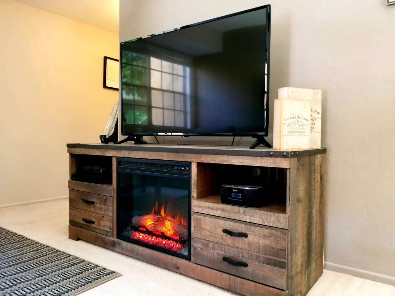 Entertainment Center with Built-In Fireplace