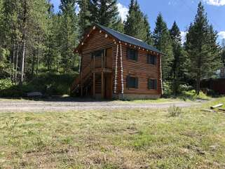Split level cabin across the road