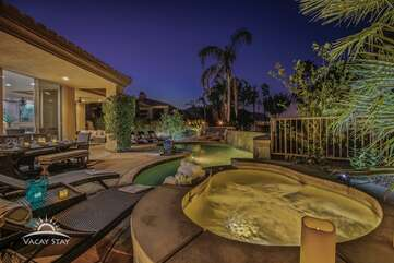 The oversized jacuzzi will be heated prior to your arrival