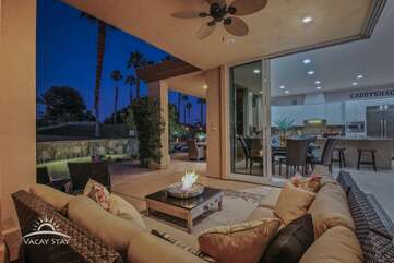 Both sliding glass doors open accordian fashion so the entire back of the home is literally wide open