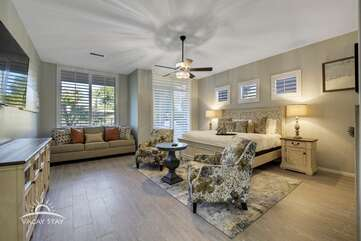 Enormous master bedroom with sitting area and sofa sleeper to sleep 4. Master bedroom  Bedroom 1