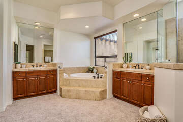 Master Ensuite Bath with Soaking Tub and Walk in Shower