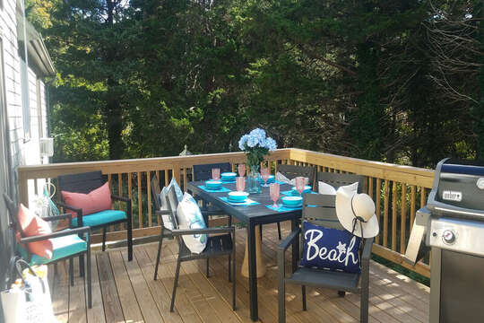 Deck off of Kitchen with plenty of seating 50 Blue Heron Eastham Cape Cod - New England Vacation Rentals
