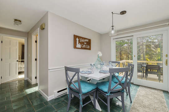 Eat in Kitchen with entrance to deck.Bathroom and bedroom  #1 is off kitchen 50 Blue Heron Eastham Cape Cod - New England Vacation Rentals