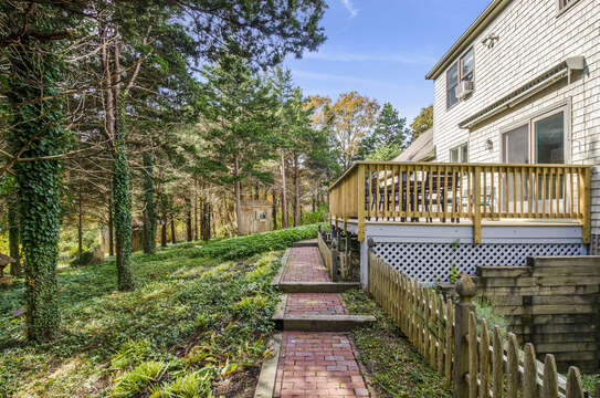 Deck overlooking private backyard. 50 Blue Heron Eastham Cape Cod - New England Vacation Rentals
