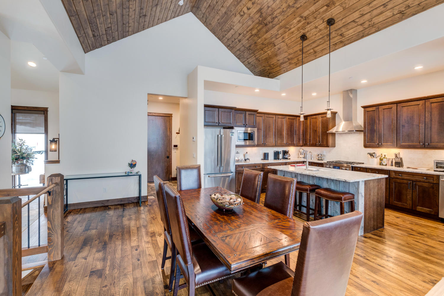 Open dining and kitchen areas