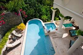 View of the pool and hot tub from the upper levels