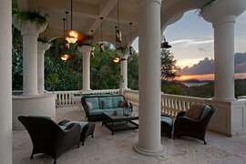 Sunset from the covered lounge area at Villa Nonna