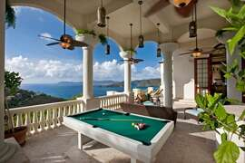 Pool table and outdoor lounge area