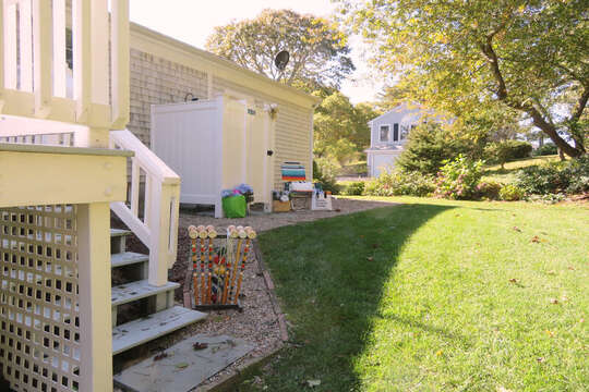 Back yard with steps to the deck 30 Chatham Crest Drive Chatham Cape Cod - New England Vacation Rentals