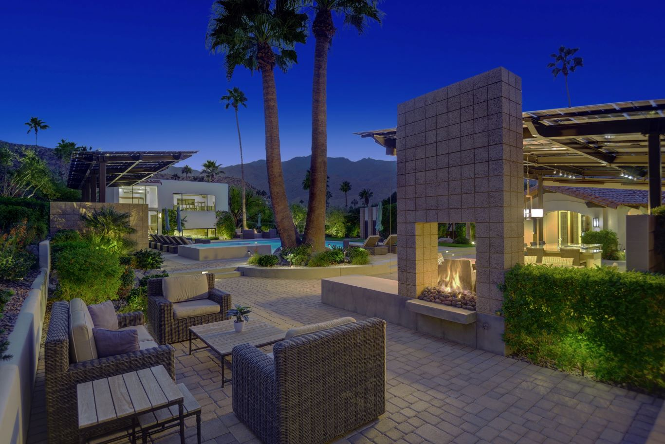 Outdoor Fireplace Seating - Night View