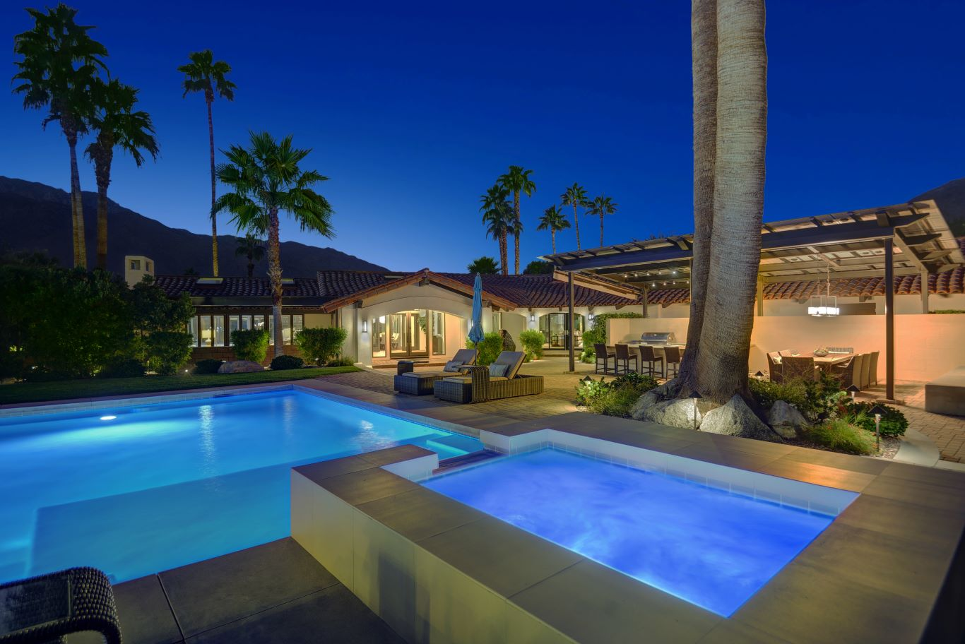 Pool and Spa - Night View