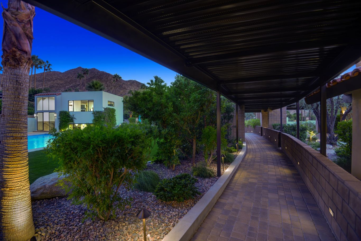 Walkway to Front of Home - Night View