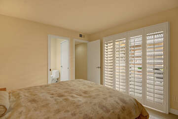 Guest Bedroom with Queen Bed, Ensuite Bath and Courtyard Access