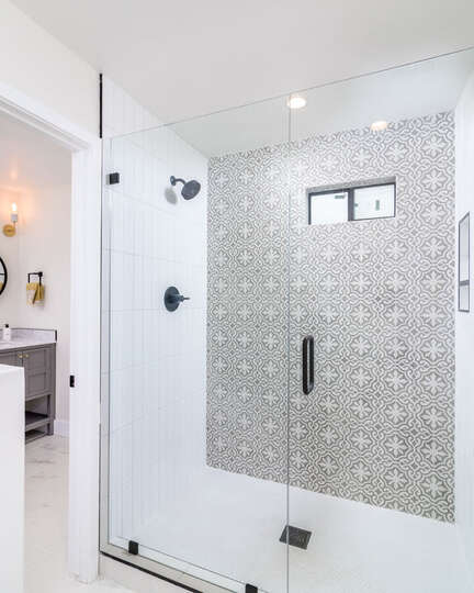 Walk-in shower with plenty of lighting