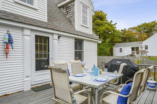 Out door deck with seating for 6 and grill. 350 Barn Hill Road Chatham Cape Cod - New England Vacation Rentals