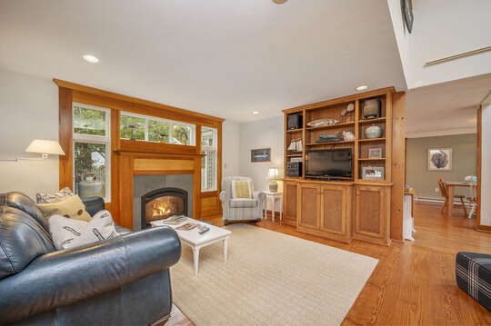 Leather couch, rocking chair and flat screen TV. 350 Barn Hill Road Chatham Cape Cod - New England Vacation Rentals