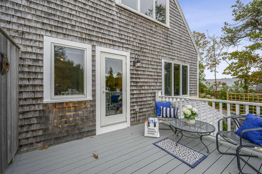 Back deck with bistro seating. 350 Barn Hill Road Chatham Cape Cod - New England Vacation Rentals