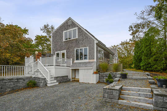 Parking area, deck with out door shower. 350 Barn Hill Road Chatham Cape Cod - New England Vacation Rentals