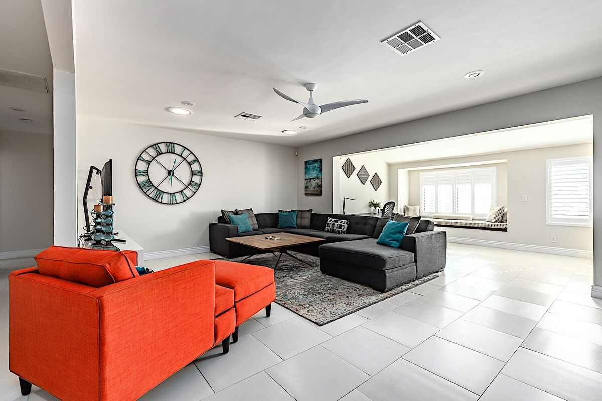 Spacious living room with large sectional sofa