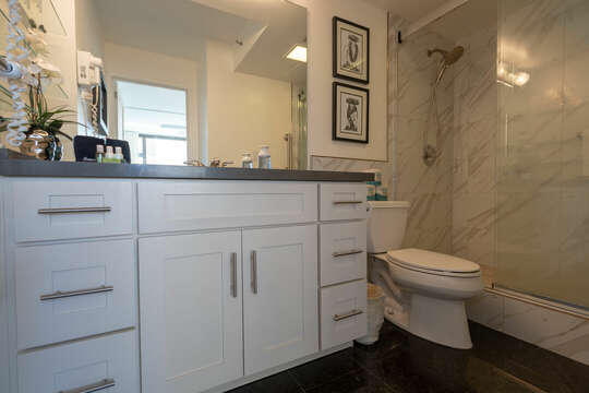 Newly remodeled spacious bathroom with step-in shower featuring grab  bars to enter and exit safely.  Ample countertop and  drawers for your convenience and comfort.