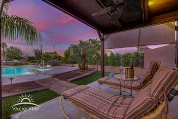 This angle shows the view you will have from the cabana and how big the cabana area is