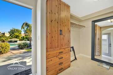 Master bedroom has a private door that leads to the back patio