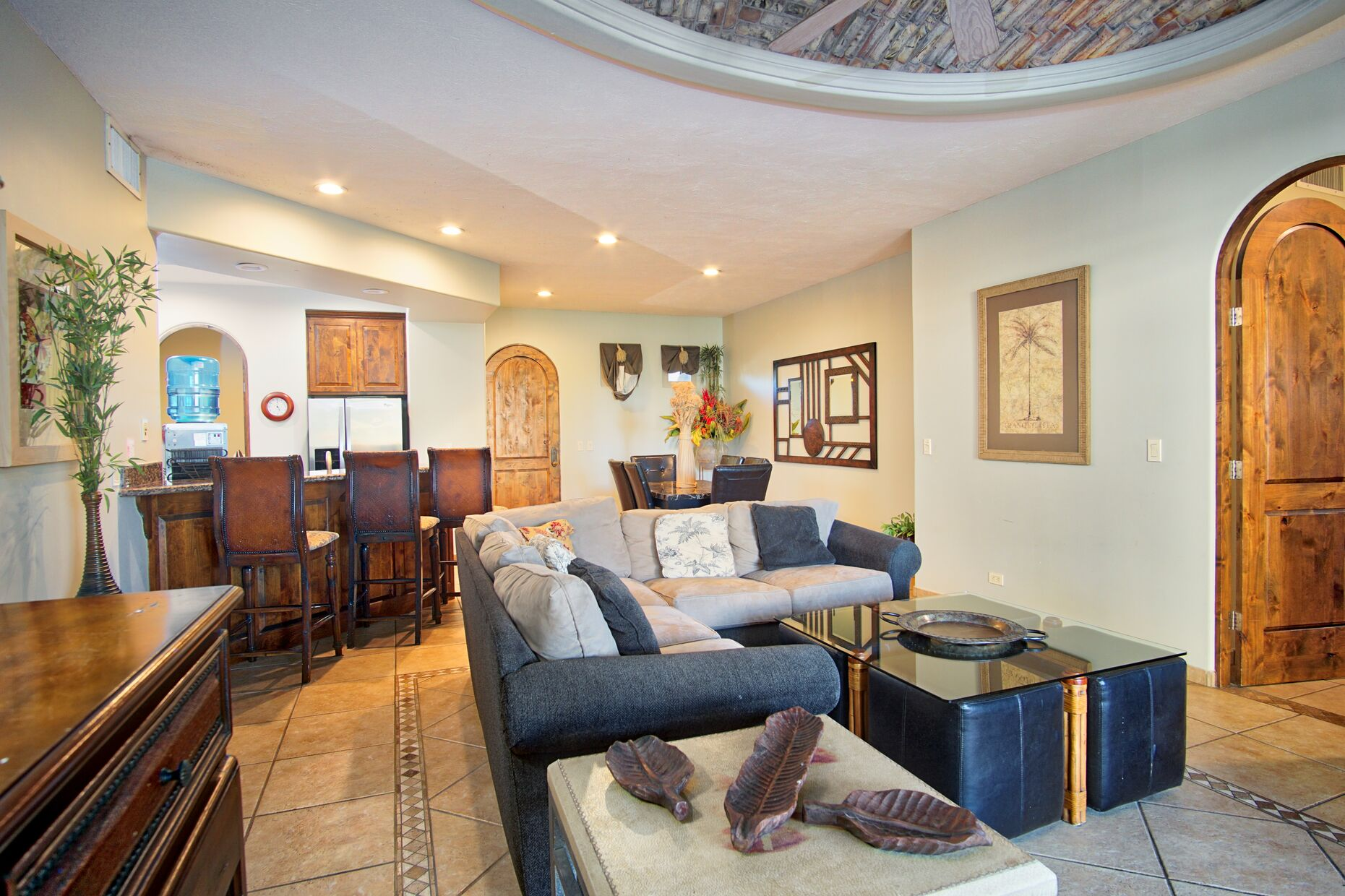 Main living area features brick dome