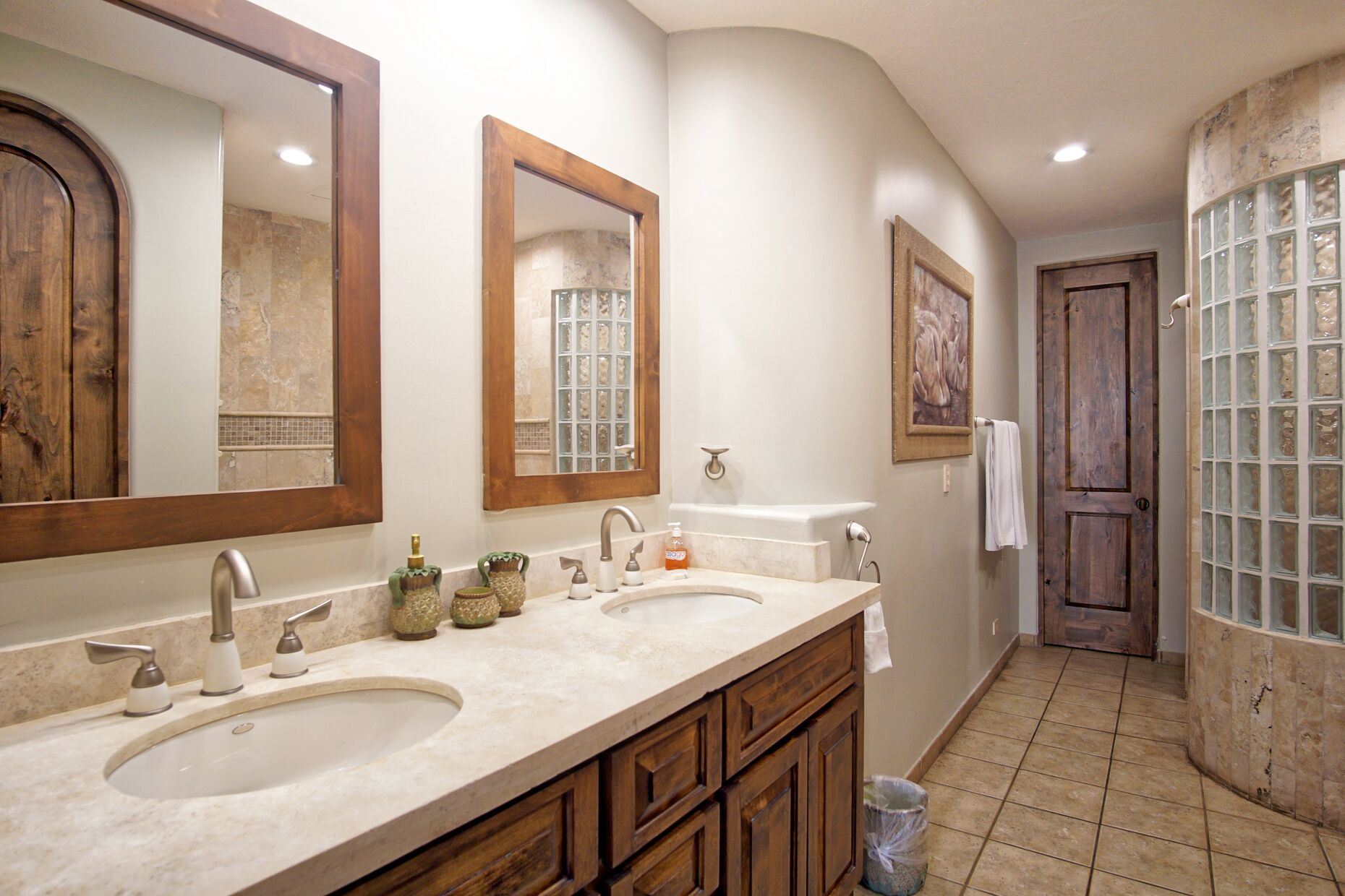 Large master bathroom with shower and separate tub