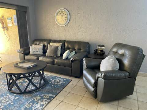 New living room furniture (sofa includes pull-out queen size bed with upgraded memory foam mattress)