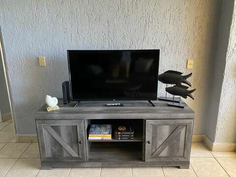 New entertainment center with flat screen TV