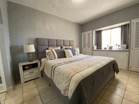 """Main bedroom with new furniture and new 14"""" memory foam mattress"""