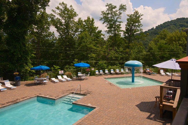 South Clubhouse Pool & Kiddie Pool Surrounded by Gatlinburg Foliage