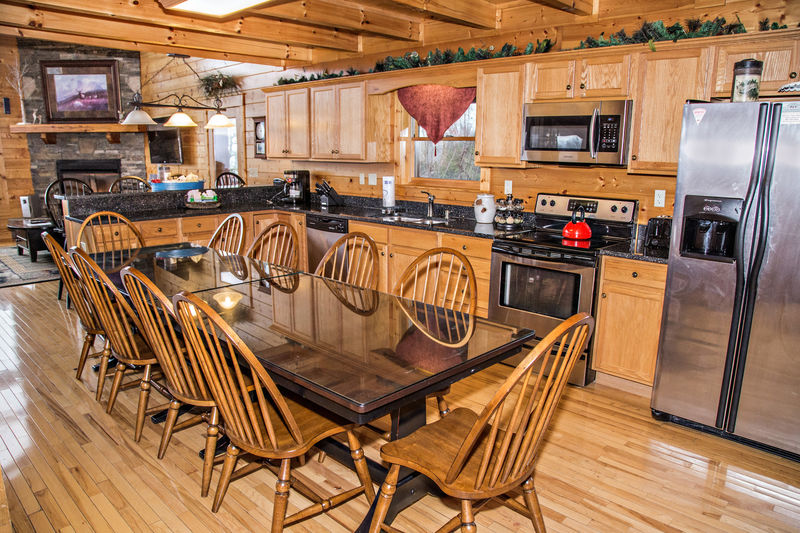 Kitchen with large dining table that seat up to 10