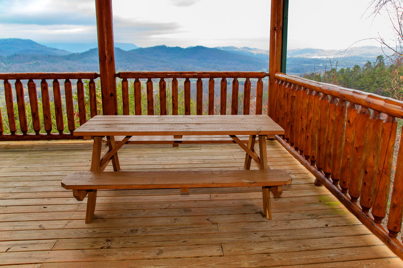 Picnic Table overlooking the view on the main Level Balcony at Million Dollar View.